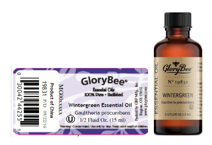 Recalled GloryBee Wintergreen Essential Oil 0.5 fl. oz. (15 mL)