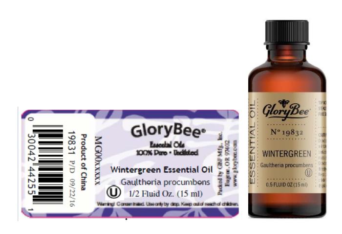 Recalled GloryBee Wintergreen Essential Oil 0.5 fl. oz. (15 mL)