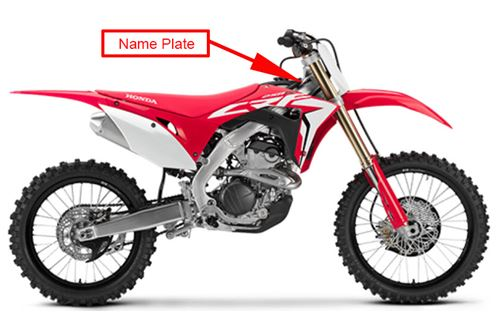 2018 Honda CRF250R:  Location of Name Plate