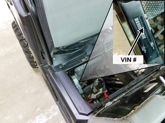 VIN number location is on frame under the passenger seat and lift out storage box