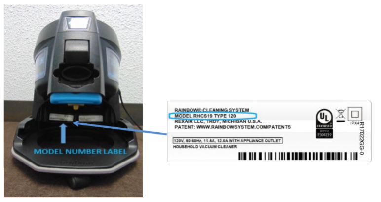 Model number label location for recalled Rainbow SRX Vacuum