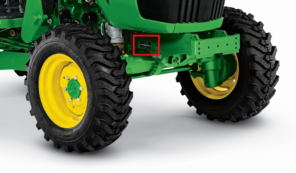 Serial number location of recalled John Deere 4R compact utility tractors