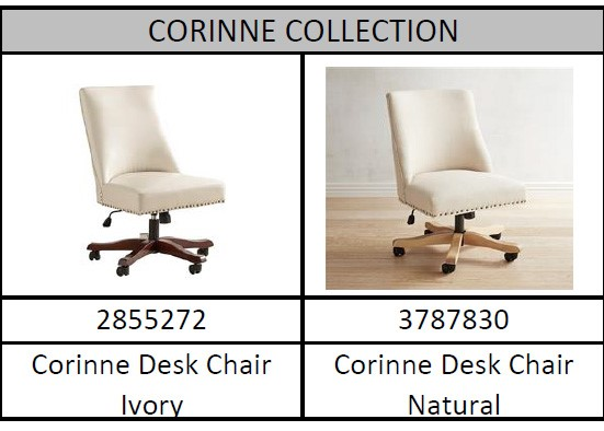 Recalled Pier 1 Corinne collection desk chairs with model number and color
