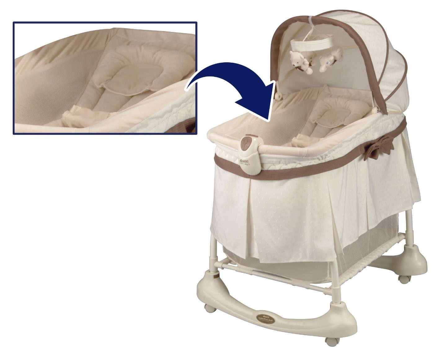 Recalled inclined sleeper accessory found in Kolcraft Preferred Position 2-in-1 Bassinet & Incline Sleeper (model number starting with KB061)