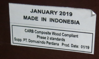 "A label on the back of each recalled dresser displays the date of manufacture and ""MADE IN INDONESIA."""