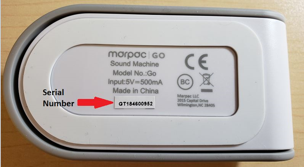Serial number location for recalled Marpac GO Travel Sound Conditioner.