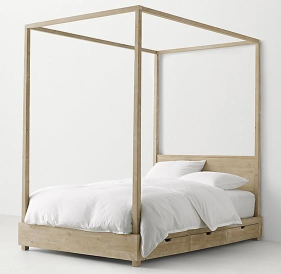 Recalled RH Callum canopy bed – weathered white