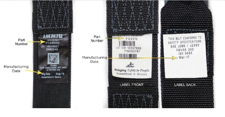 Location of part number and manufacturing date