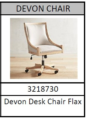 Recalled Pier 1 Devon collection desk chairs with model number and color