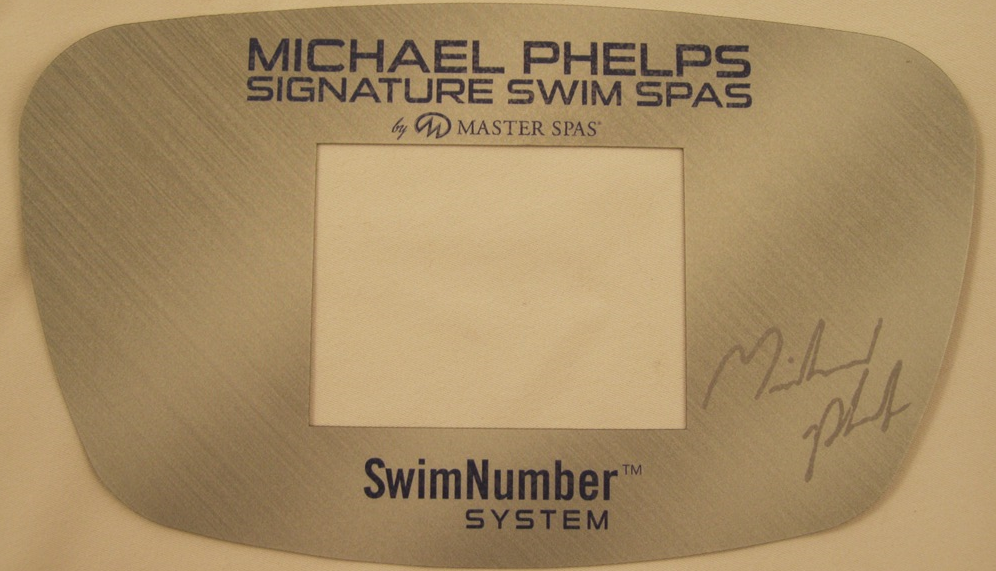 "A Master Spas control panel cover showing the brand name ""MP Signature Deep Swim Spas"""