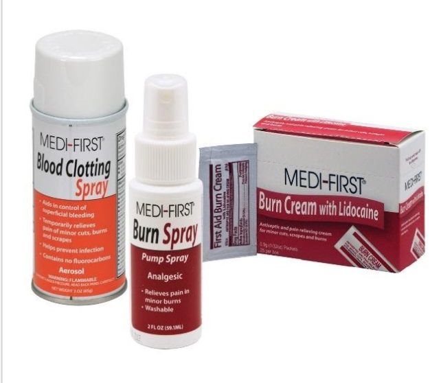 image of 31 Medique Over-the-Counter drugs from the product lines: Medi-First, Medi-First Plus, Medique, Dover, Otis Clapp, and Ecolab.