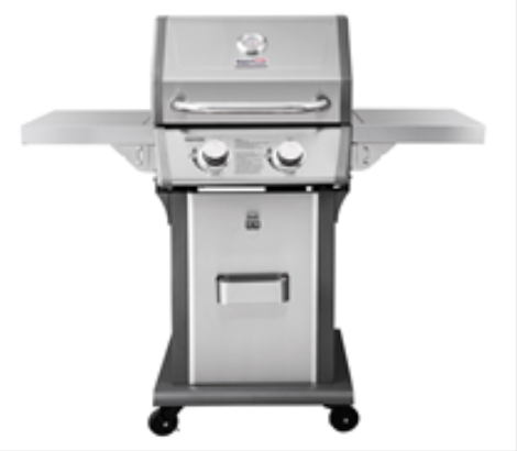 Front View of Recalled Patio 2-Burner Gas Grill in Silver