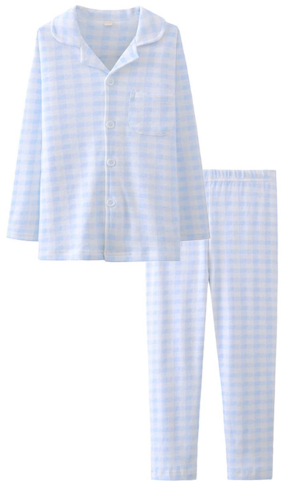 ASHERGAL children's two-piece pajama set in blue gingham