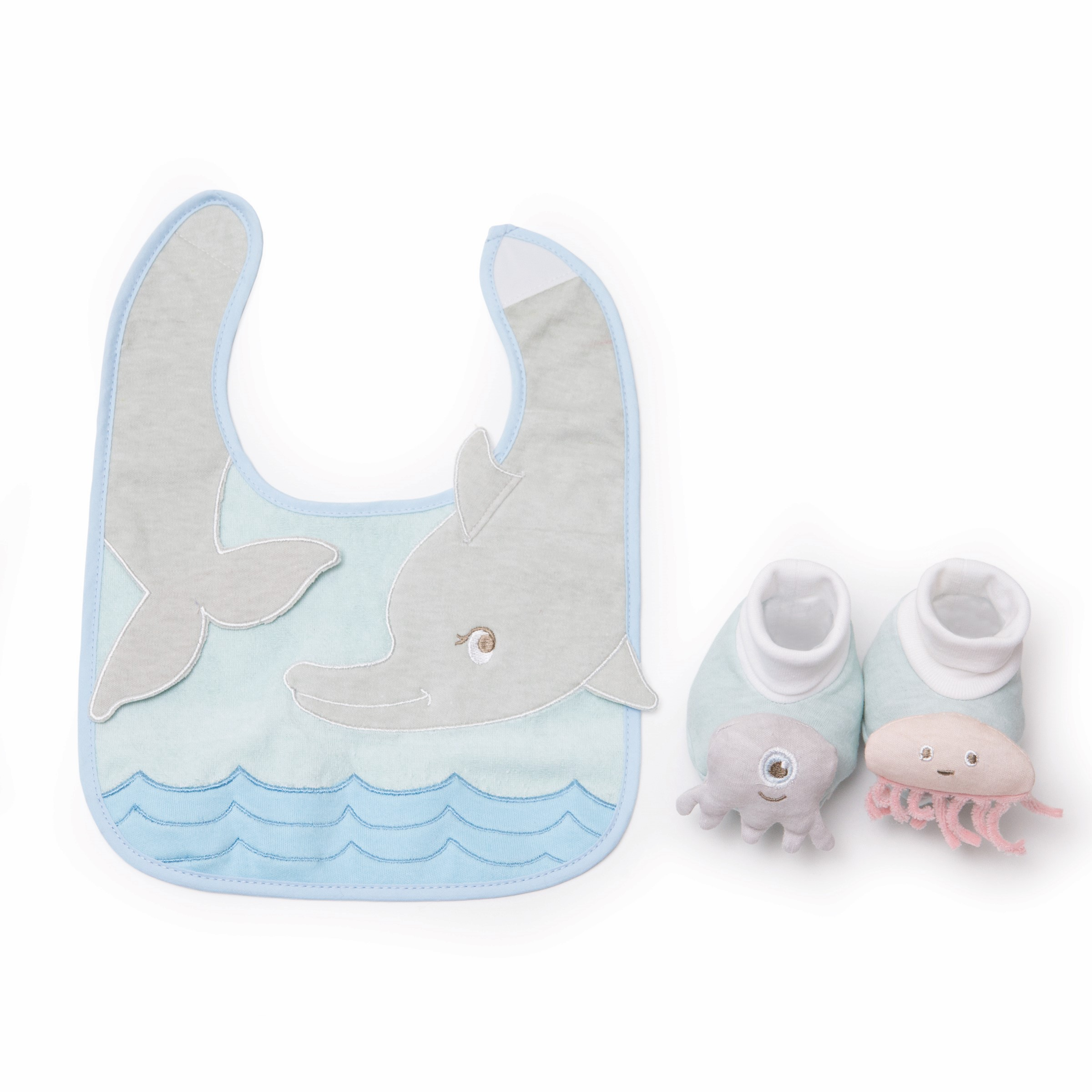 Sea creatures bib and bootie set