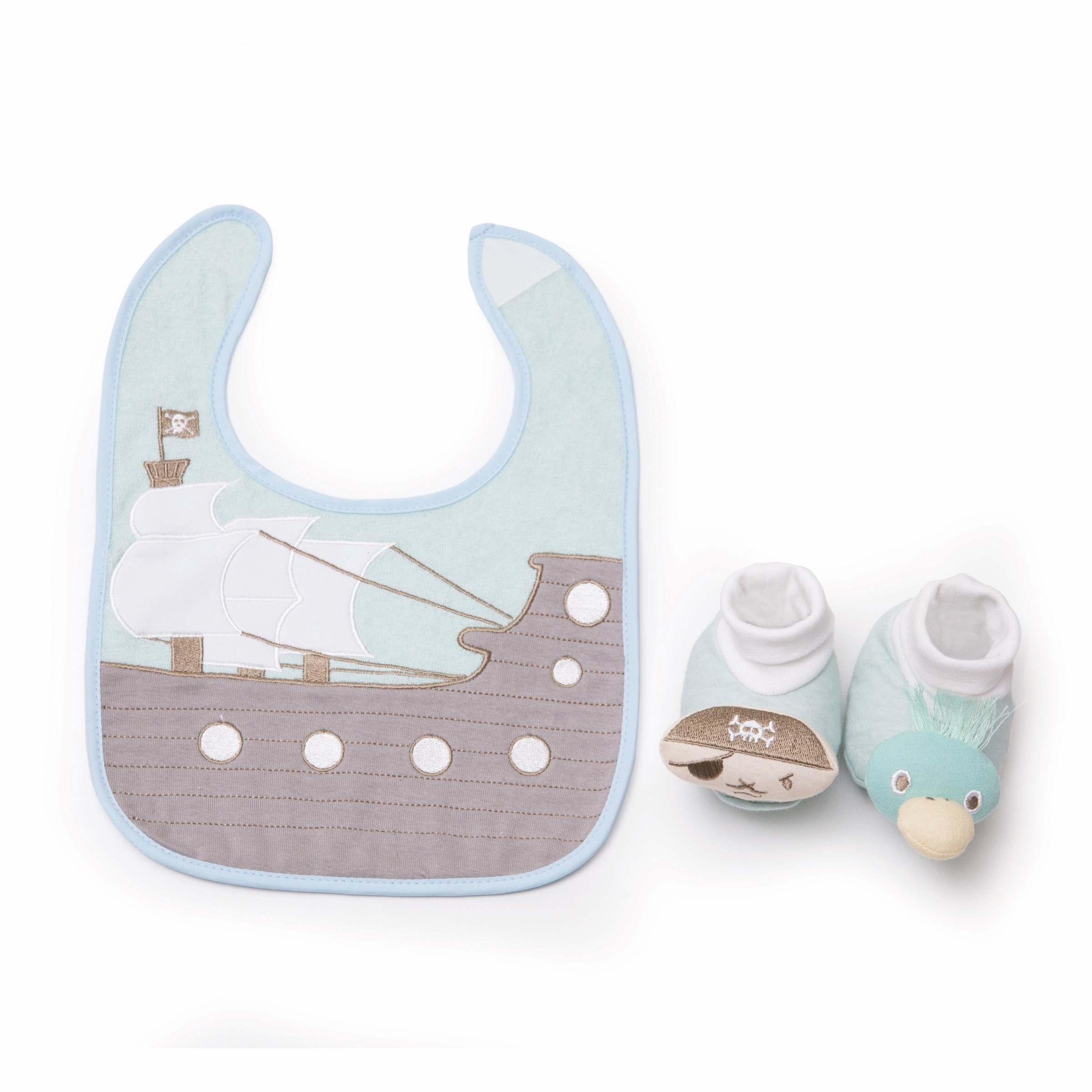 Pirate bib and bootie set