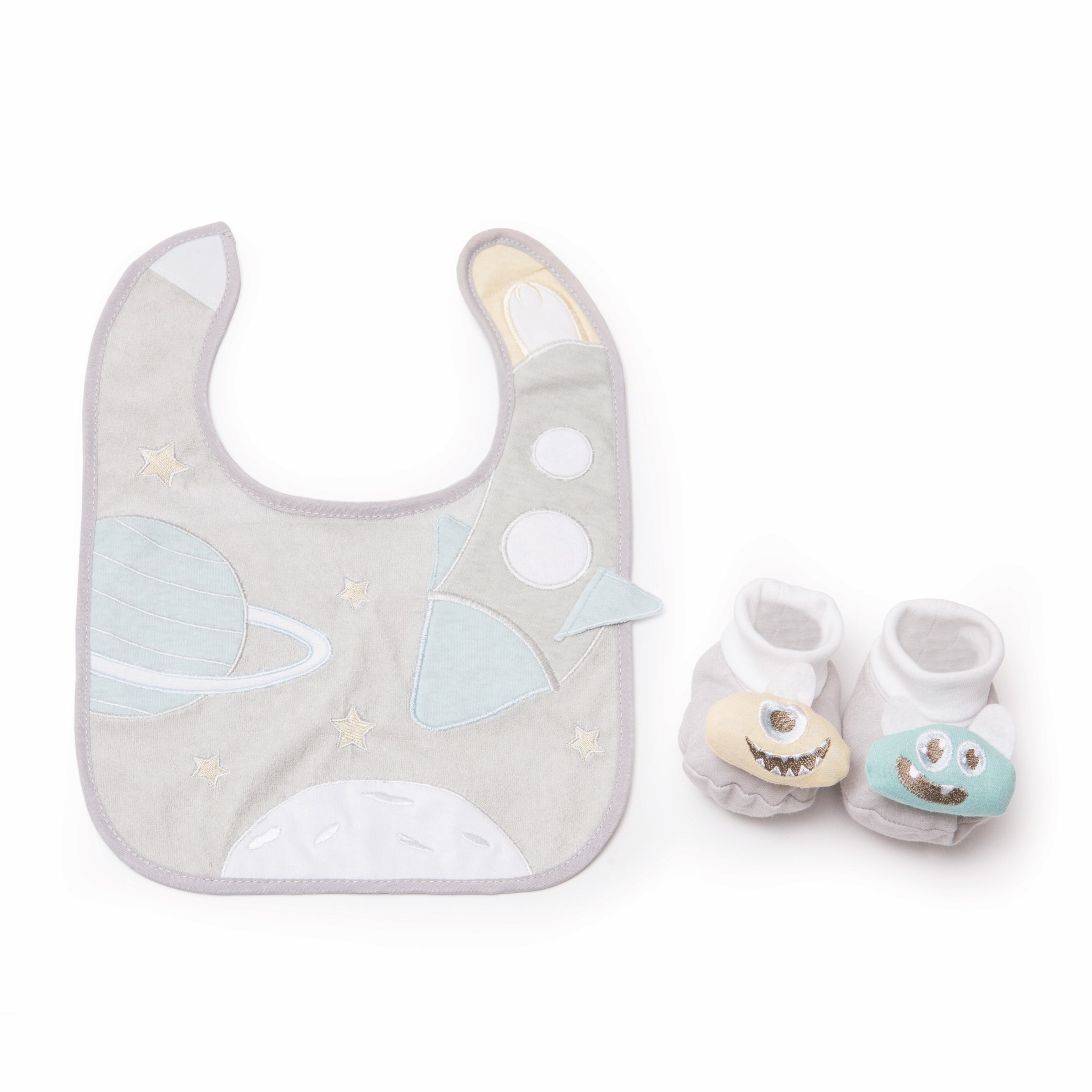Rocketship bib and bootie set