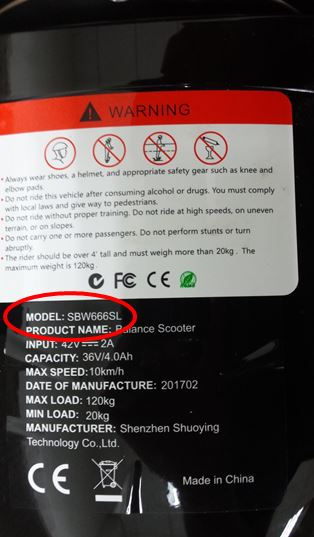 Recalled Sonic Smart Wheels hoverboard with model number SBW666SL