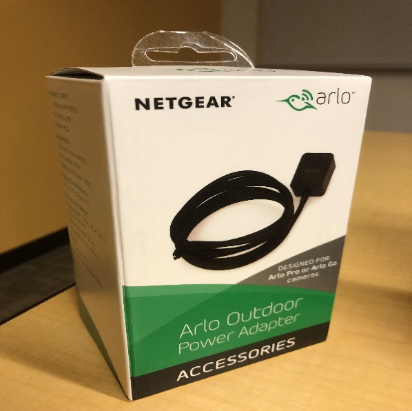 A view of the aftermarket outdoor power adapter packaging