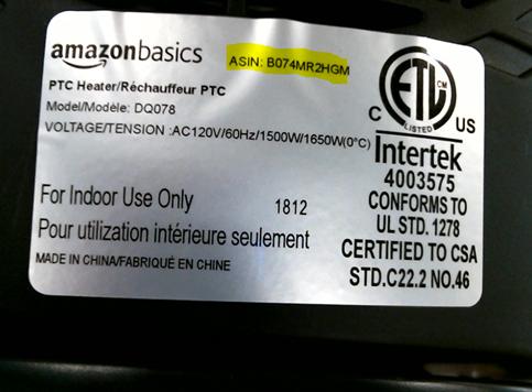 image of AmazonBasics 1500 Watt Ceramic Space Heaters