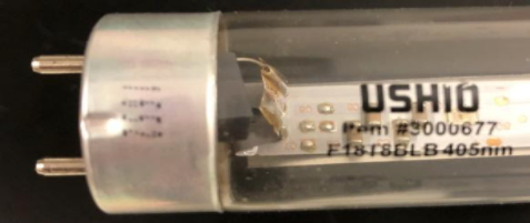 Recalled Indiglow LED T8 Lamp Showing Date Code Location