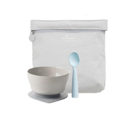 "Recalled Miniware ""First Bites"" travel set with teething spoon in aqua"