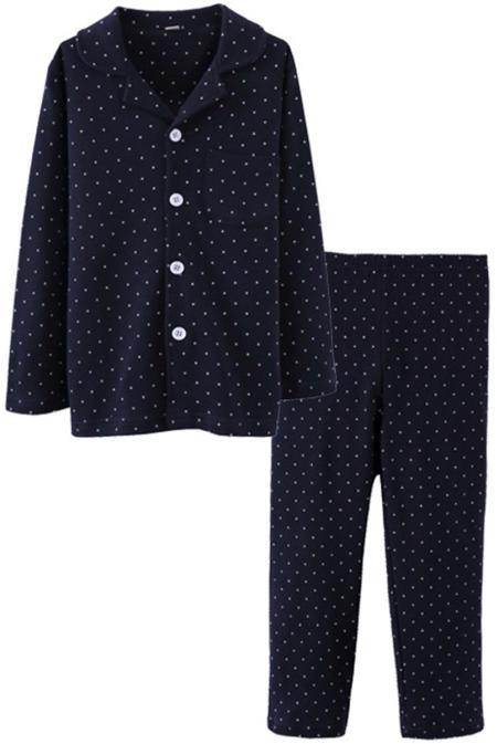 ASHERGAL children's two-piece pajama set in black with white polka dots