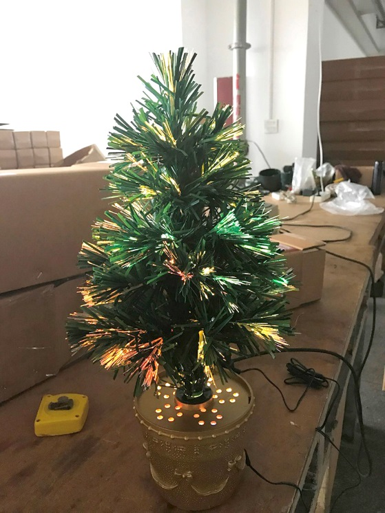 18 inch multi colored fiber optic indoor plug in Christmas tree.