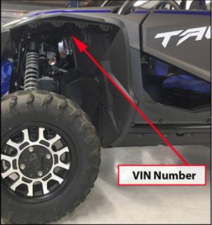 Talon 1000 Location of VIN Number