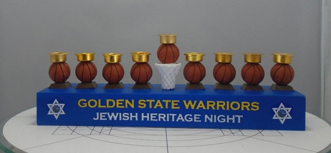 Jewish Heritage Hanukkah menorah for Golden State Warriors game