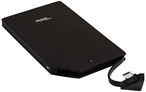 AmazonBasics portable power bank, with product ID number B000LRK8EVO printed on the back of the unit.