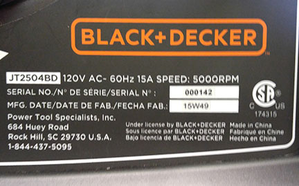 Table saw model and serial number location