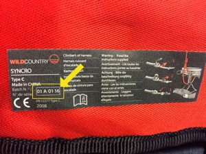 Batch Code on Recalled Wild Country Syncro Harness