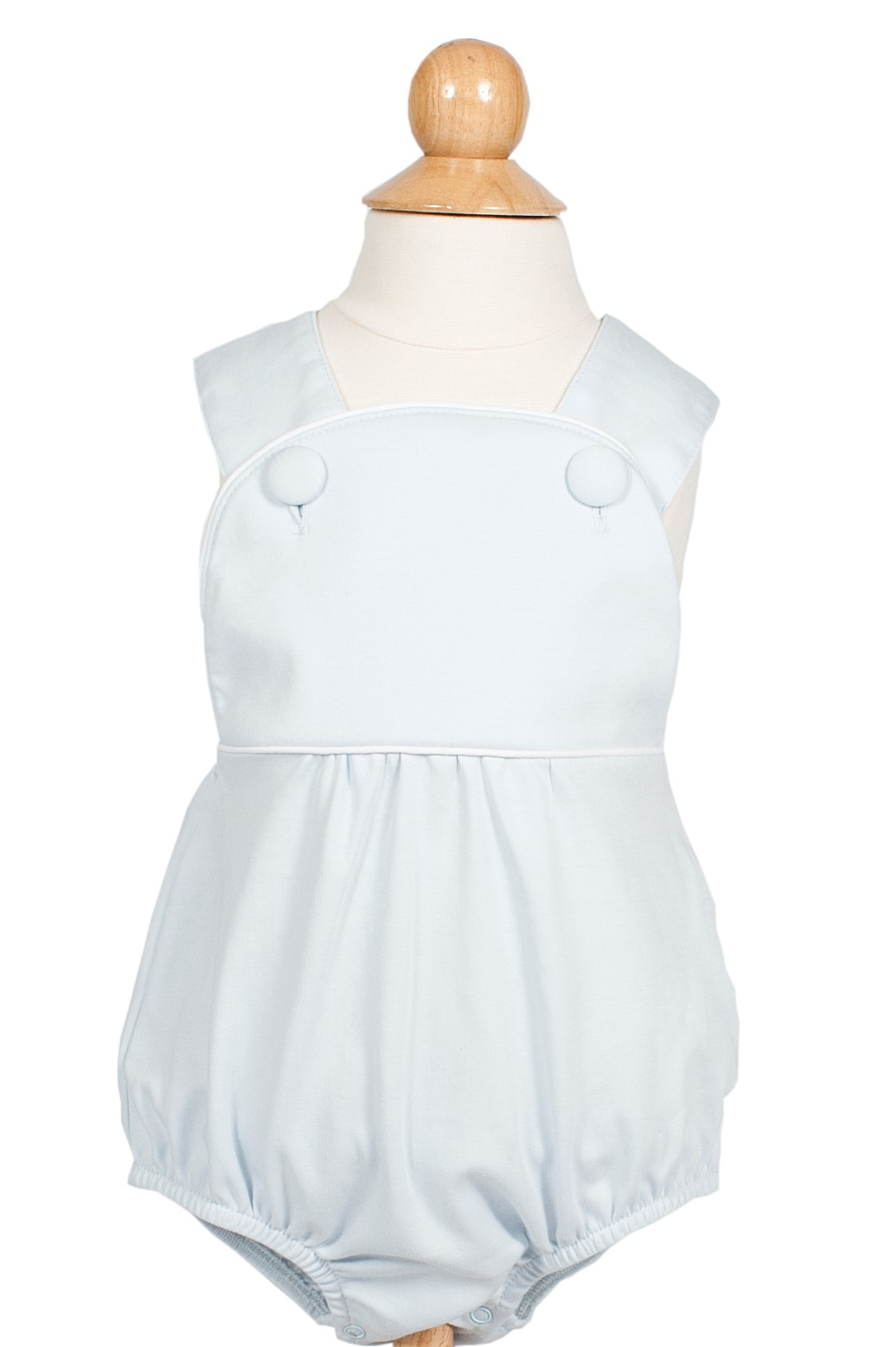 Benton bubble children's playwear shown in light blue colorway