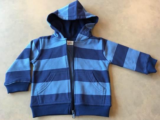 Blue striped zipper hooded sweatshirt