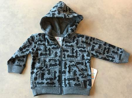 Bus print zipper hooded sweatshirt