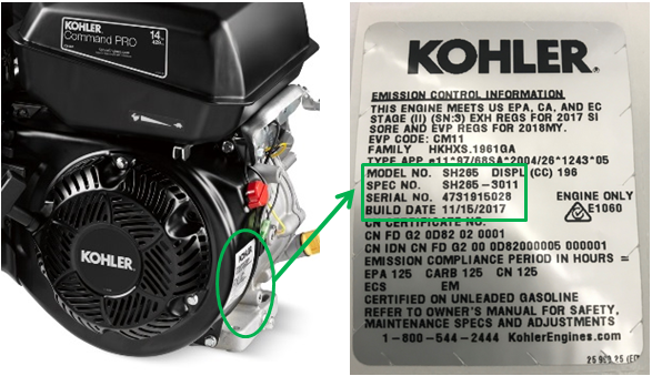 Location of label on recalled Kohler engine