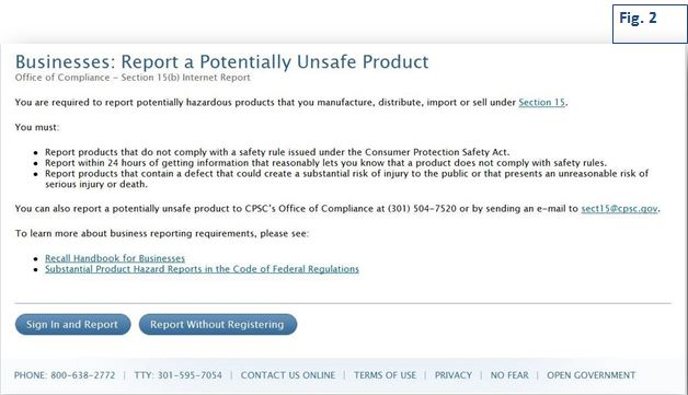 Filing an Online Initial Section 15b Report   CPSC gov