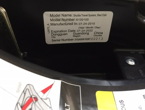 Model number on car seat base