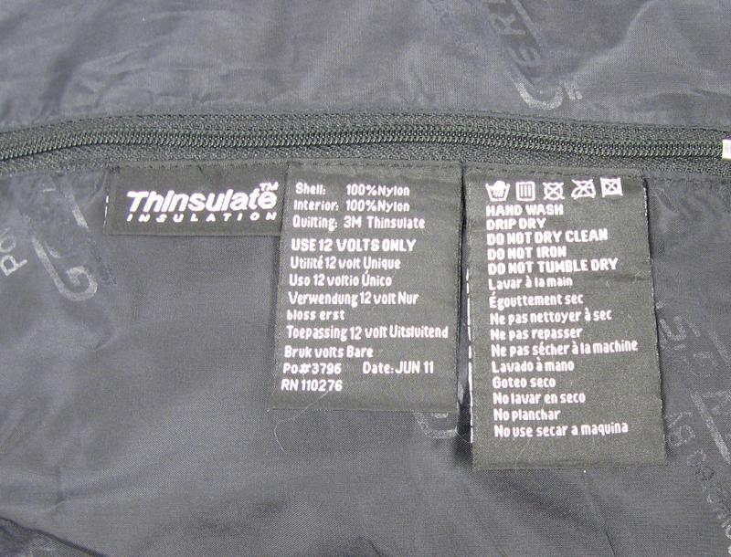 Label on Gerbing's jacket liner