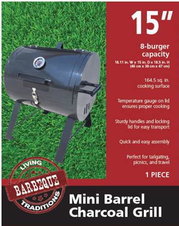 Living Traditions Mini Barrel Charcoal Grill