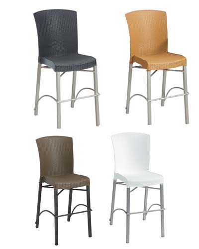 Grosfillex Havana commercial armless bar stools.