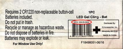 El número de modelo 234-25-0904 se encuentra en la parte de atrás del paquete del adorno adherible de gel.