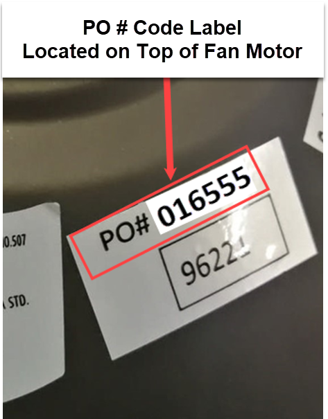 Model number and product order number location