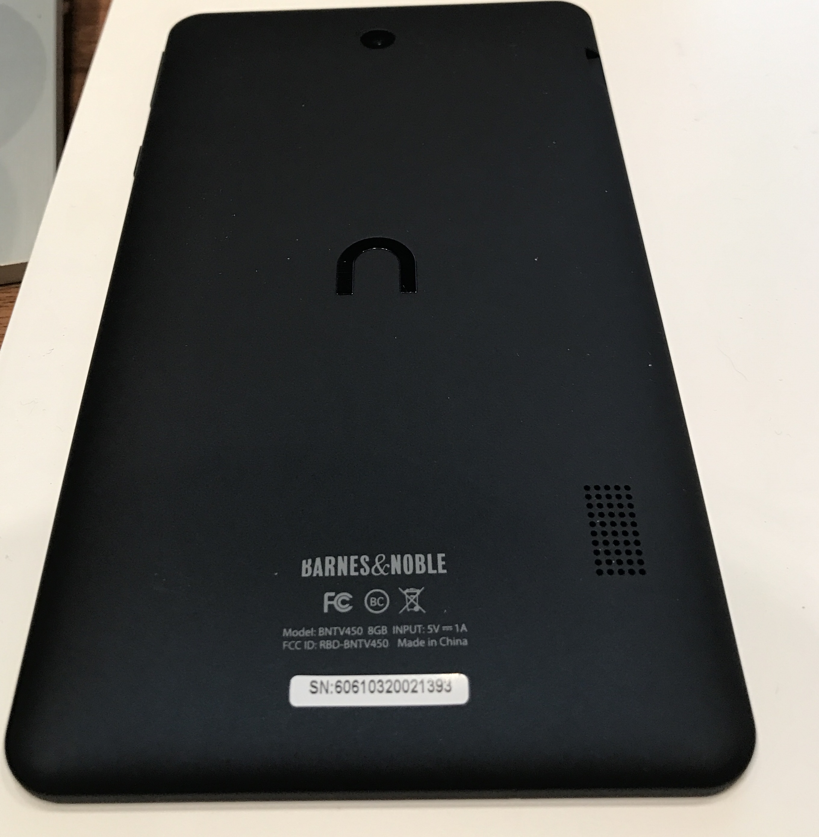 "NOOK Tablet 7"" Back with Serial Number"