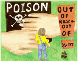 "Illustration of hands covering a Poison sign with an image of a child. ""Out of reach, Danger"" is next to the child."