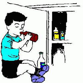 sketch of a child drinking medicine from a bottle with a cabinet open