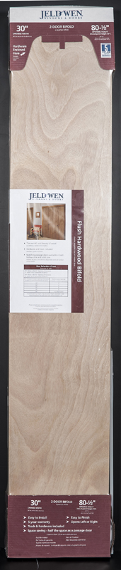 Picture of recalled JELD-WEN Molded Panel Bifold, JELD-WEN Flush Natural Wood Grain Bifold, Reliabilt Molded Natural Wood Grain Bifold and Reliabilt Flush Natural Wood Grain