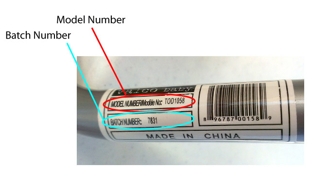 Detail of recalled booster seat frame showing location of model number and batch number