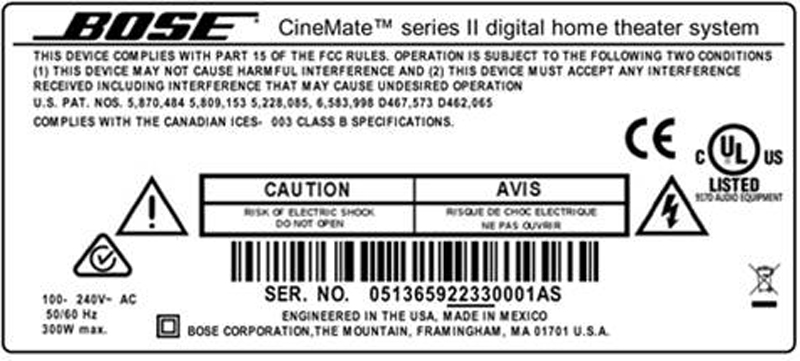 Picture of recalled Bose CineMate serial number location
