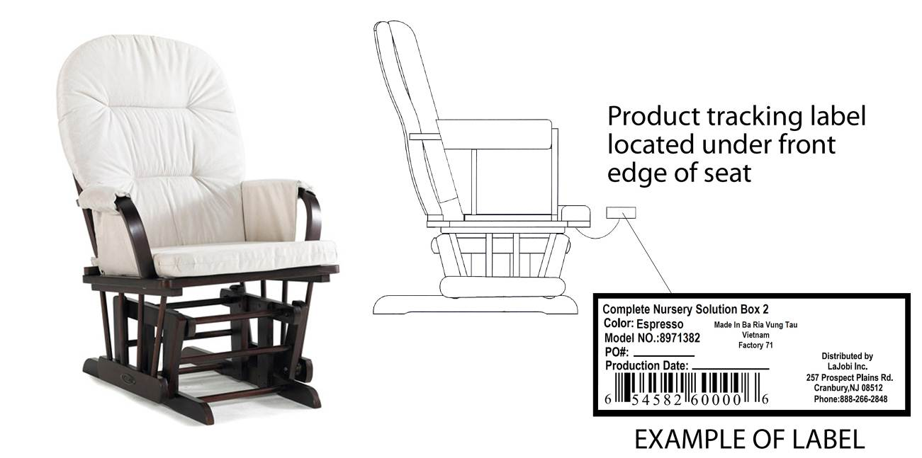 CNS/Katelyn Glider Rocker and label
